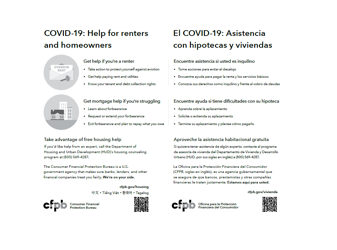 Cover page for COVID-19: Help for Renters and Homeowners (B/W) - Download Only