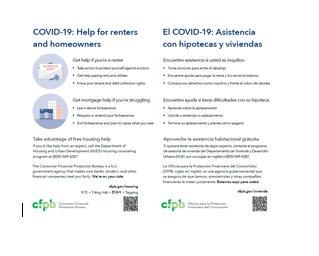 Cover page for COVID-19: Help for Renters and Homeowners (Color) - Download Only