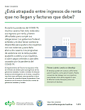 Cover page for FOR LANDLORDS - Squeezed between missed rental income and bills you owe? Help is available (download only) (Spanish)